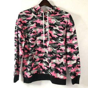 New Womens Camo Pullover Hoodie Small Pink Gray